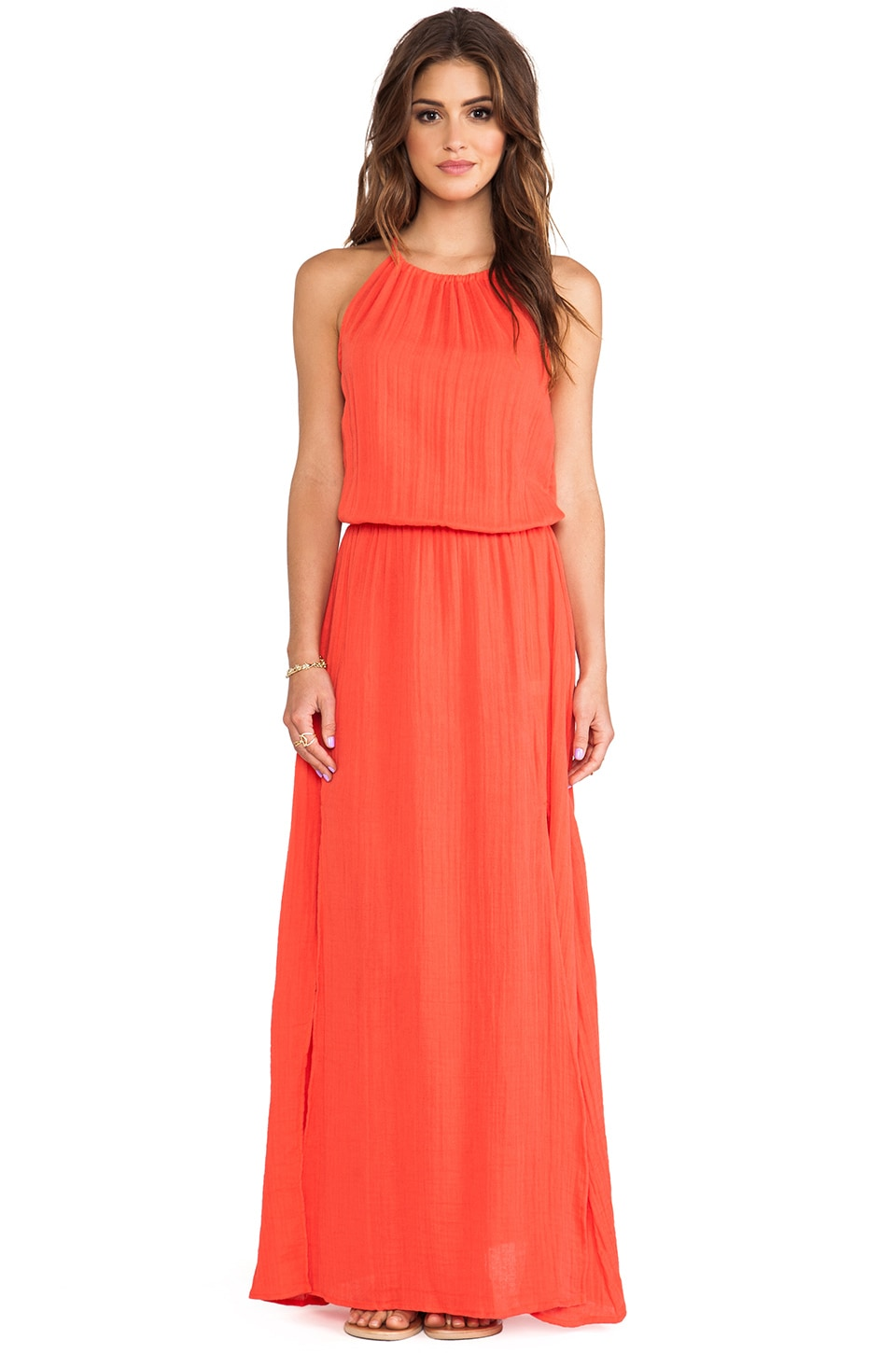 Michael Stars Double Slit Maxi Dress in Chili