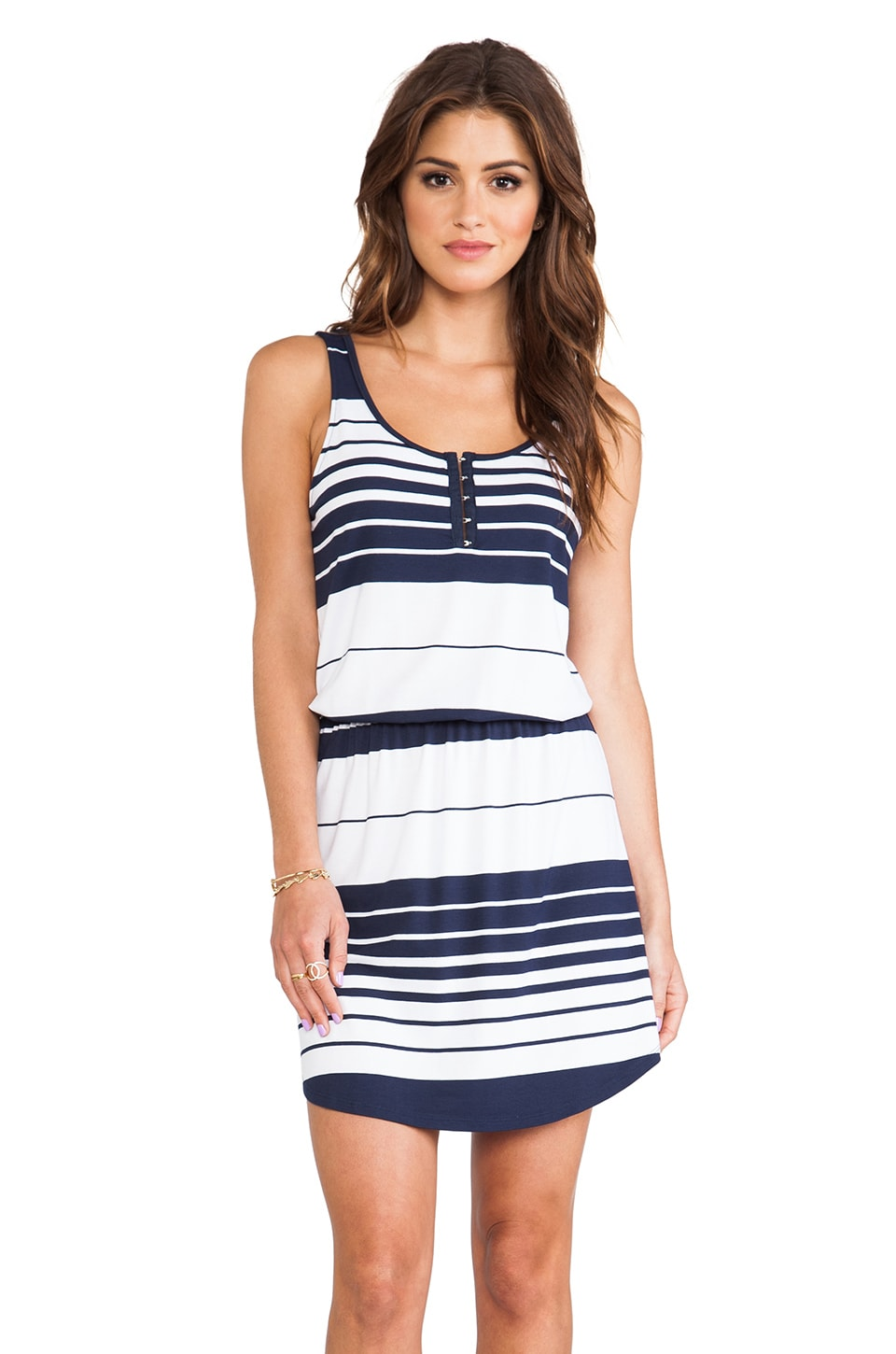 Michael Stars Jenna Sleeveless Dress in Ship & White