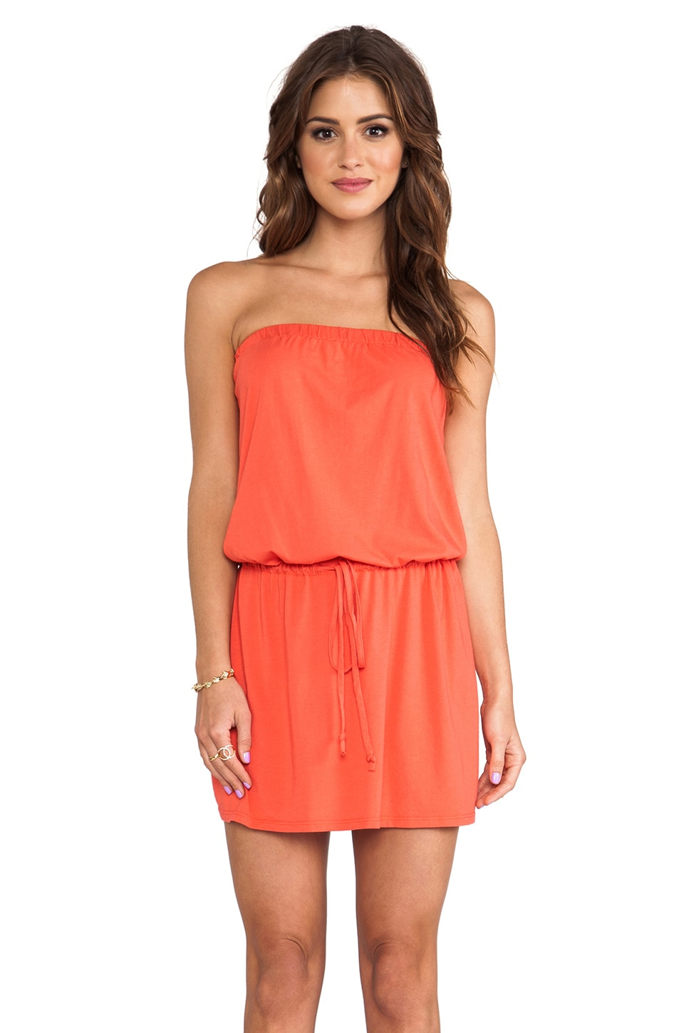 Michael Stars Strapless Tie Waist Dress in Chili