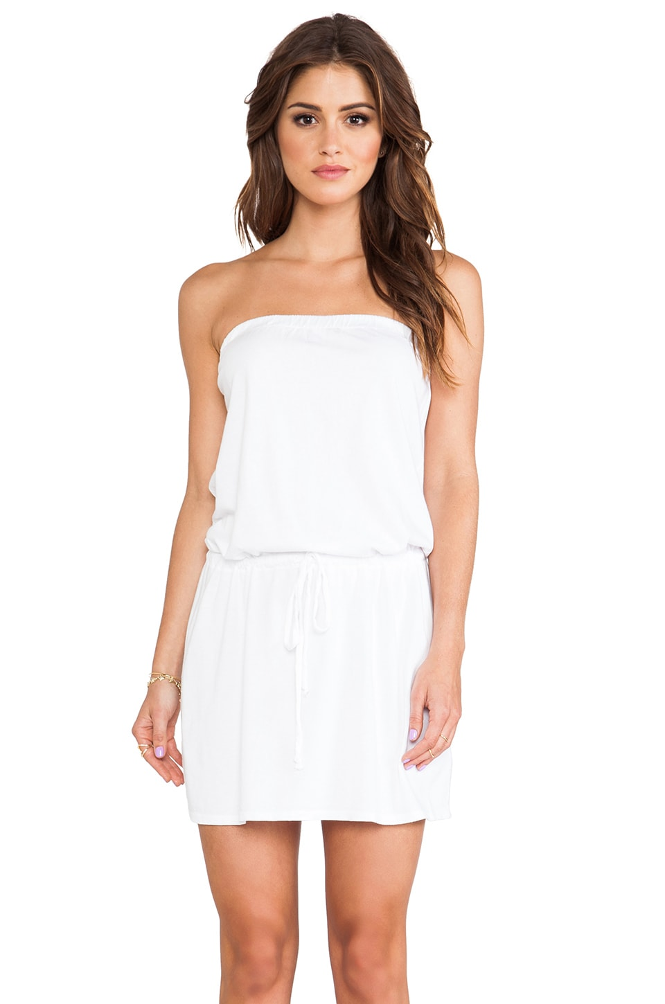 Michael Stars Strapless Tie Waist Dress in White