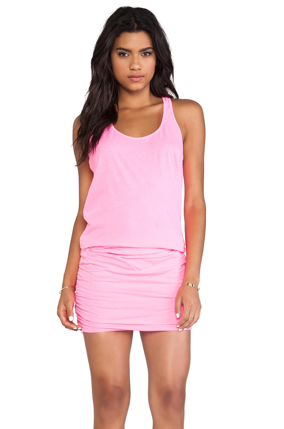 Michael Stars X REVOLVE Jersey Knit Sleeveless Scoop Neck Racerback Shirred Dress in Blinding Pink