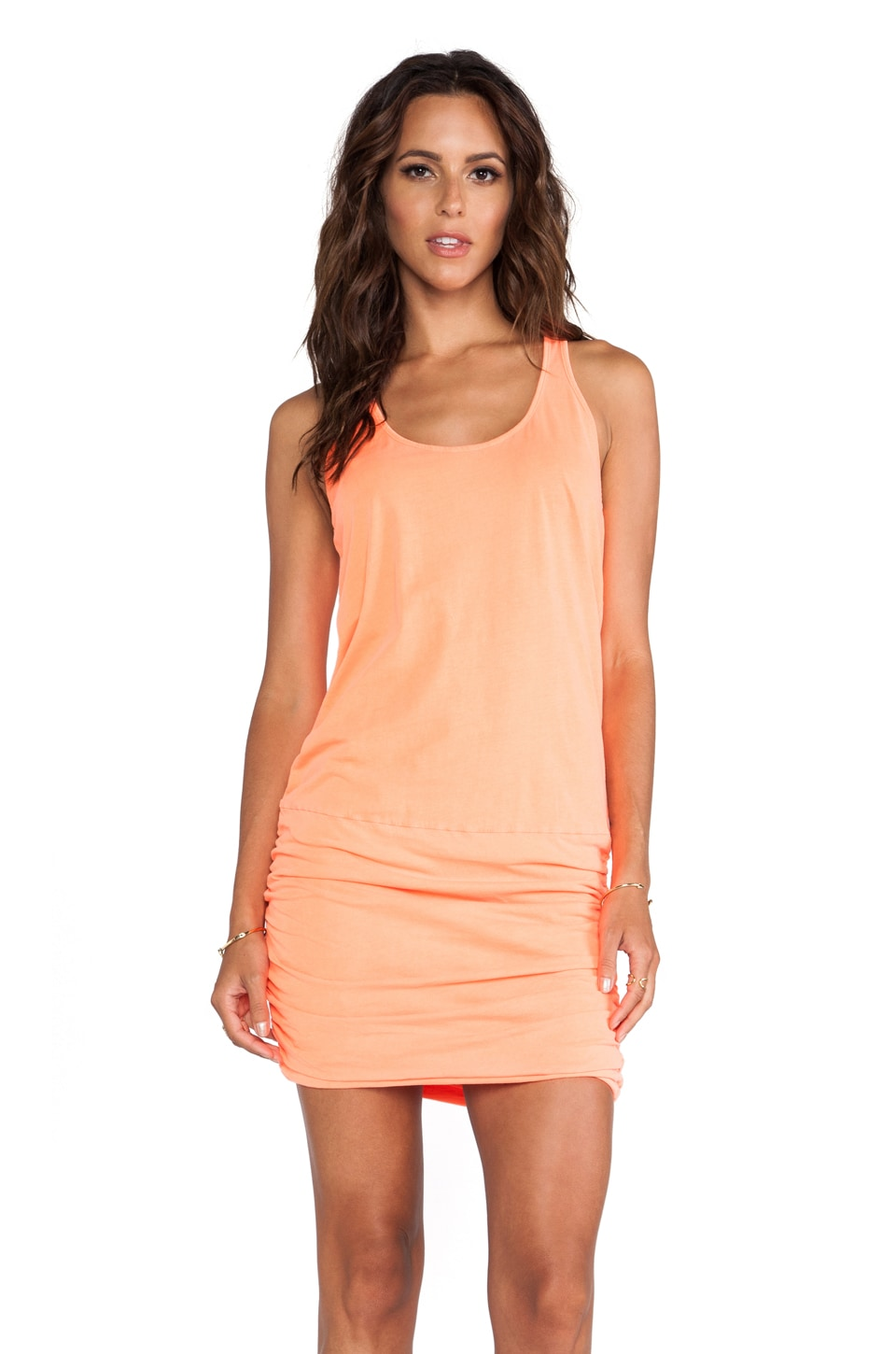 Michael Stars X REVOLVE Jersey Knit Sleeveless Scoop Neck Racerback Shirred Dress in Screaming Orange