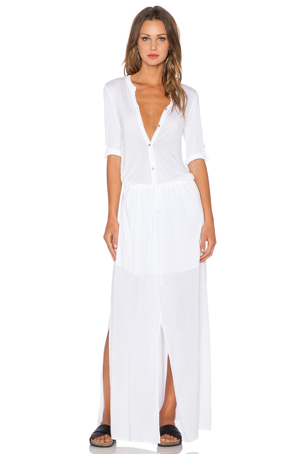 Michael Stars 3/4 Sleeve Maxi Shirtdress in White