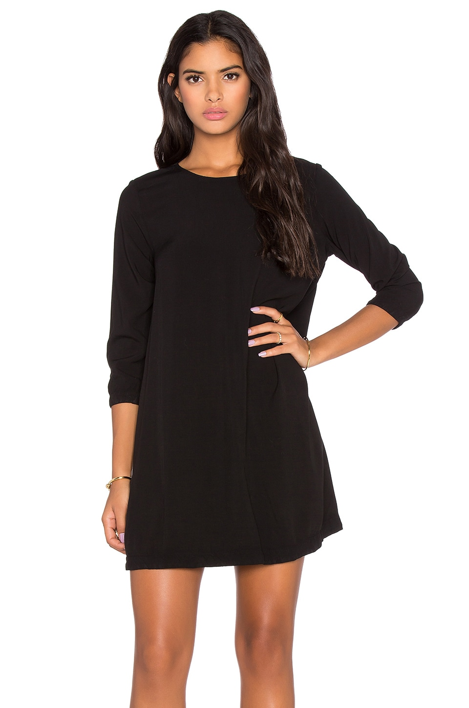 Michael Stars 3/4 Sleeve Crewneck Mini Dress in Black