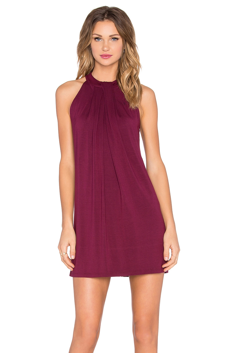 Michael Stars Sasha Sleeveless Draped Halter Dress in Pinot