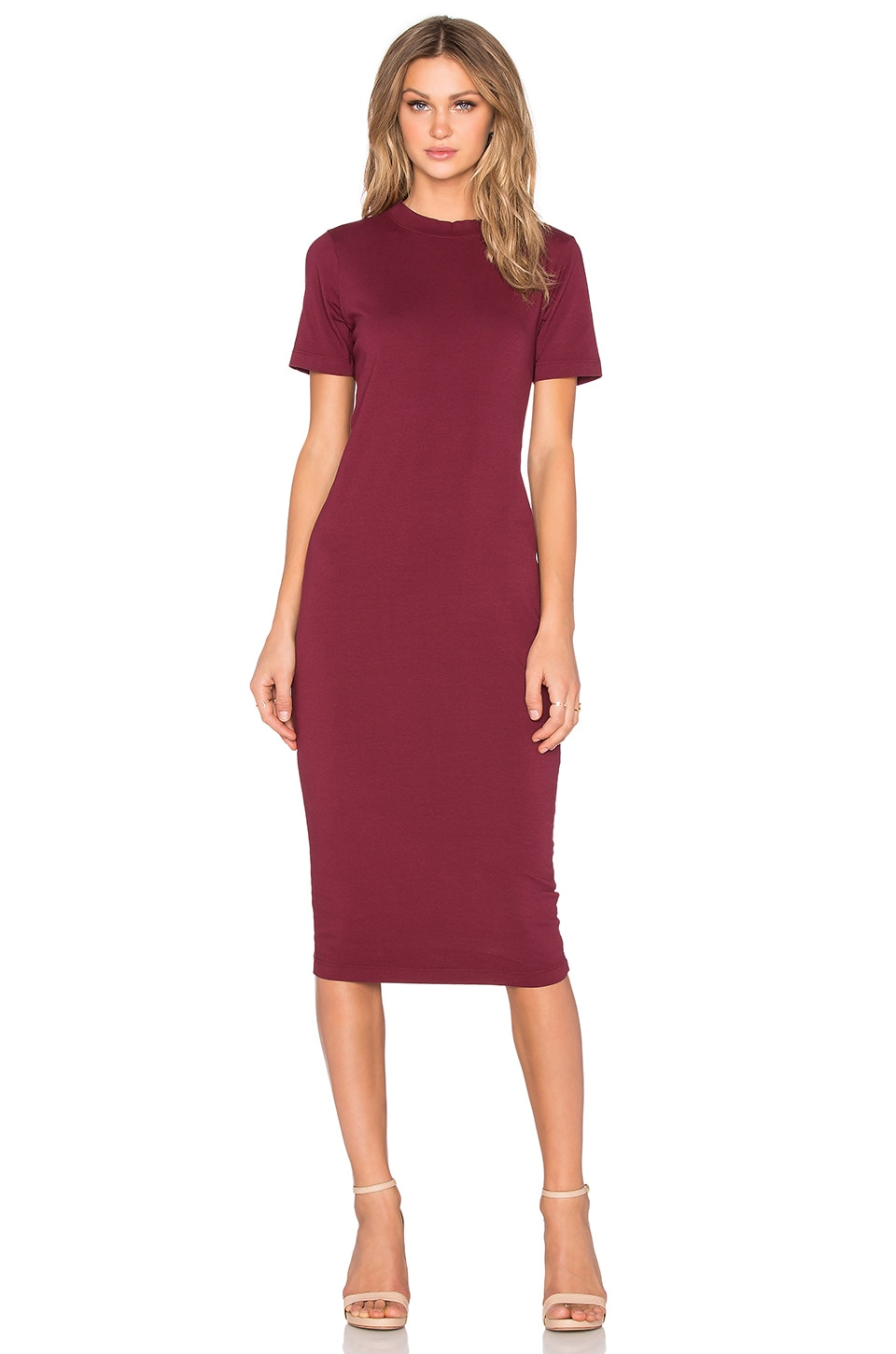 Michael Stars Crewneck Midi Dress in Pinot