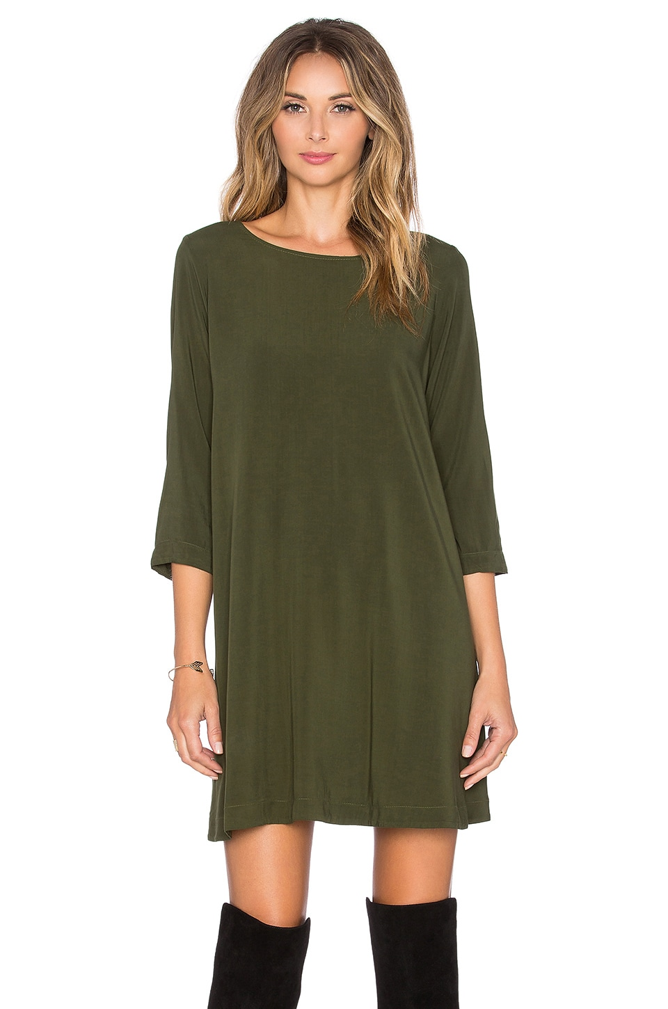 Michael Stars 3/4 Sleeve Crewneck Mini Dress in Combat