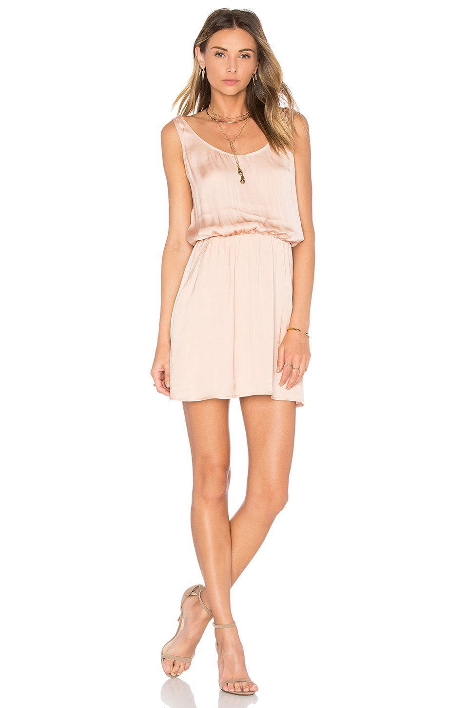 Zoey Satin Double Scoop Neck Dress by Michael Stars