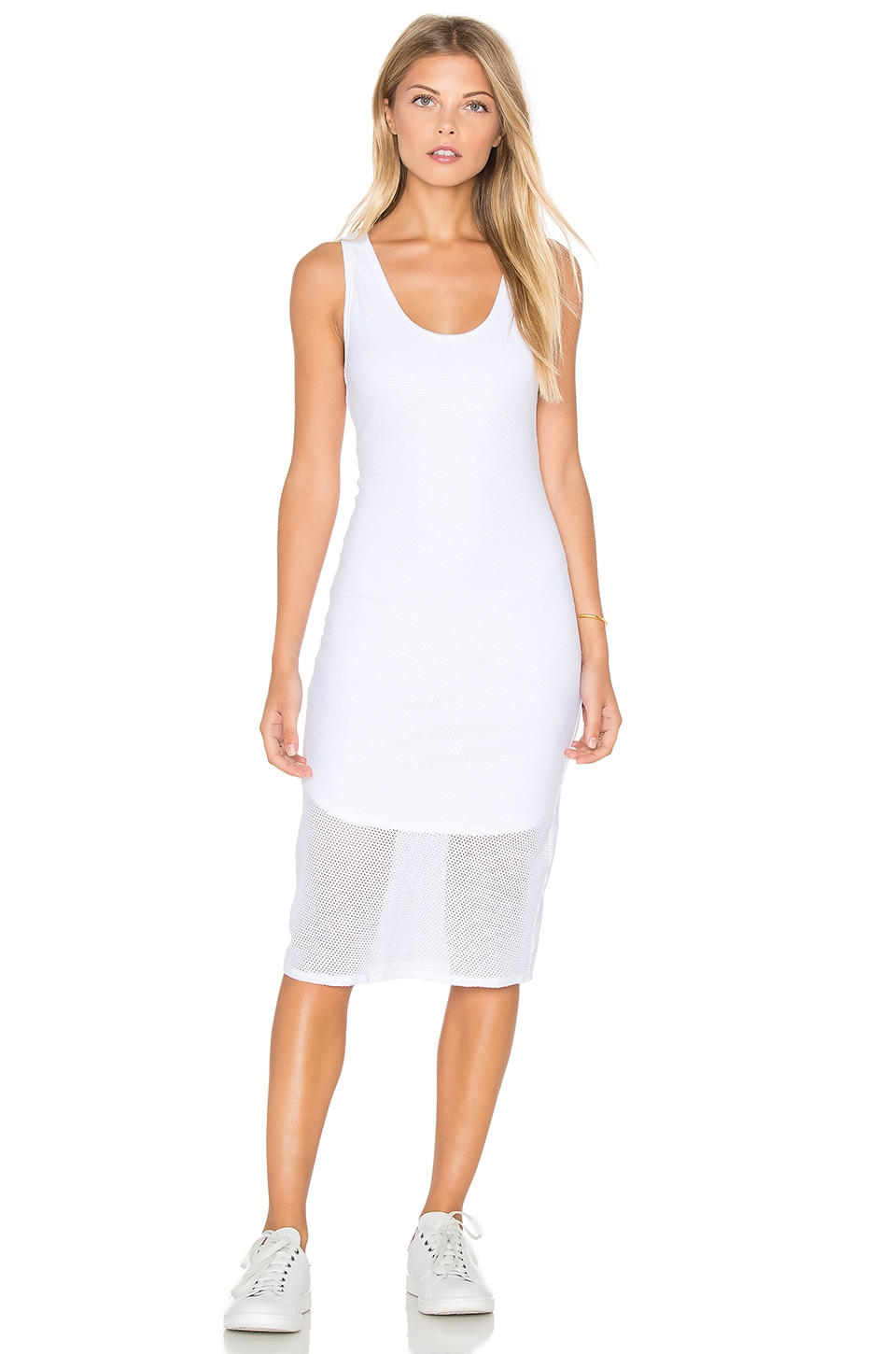 Michael Stars Mesh V Neck Tank Midi Dress in White