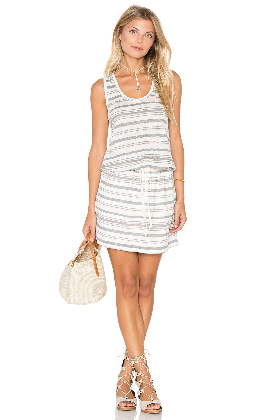 Stripe Linen Knit Drawstring Tank Dress by Michael Stars