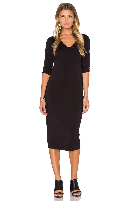 Michael Stars 3/4 Sleeve V Neck Midi Dress in Black