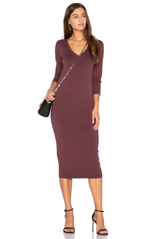 3/4 Sleeve V Neck Midi Dress by Michael Stars