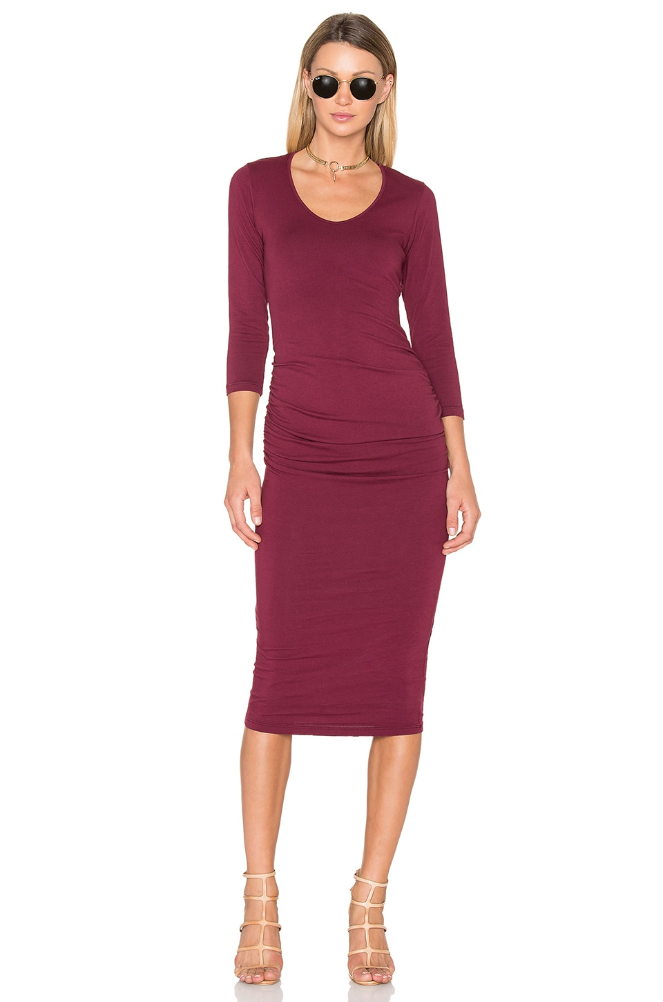Ruched Midi Dress by Michael Stars