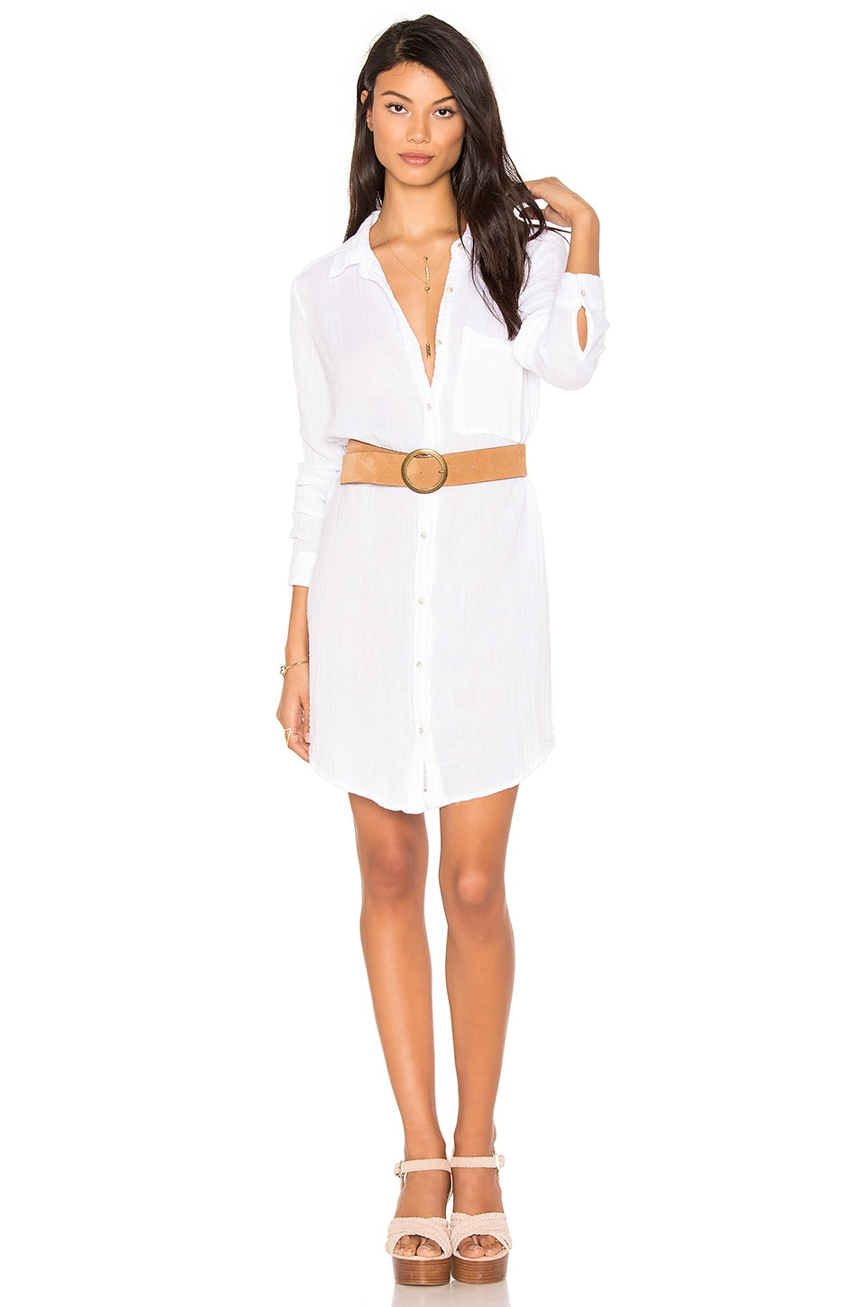 Michael Stars Button Shirt Dress in White