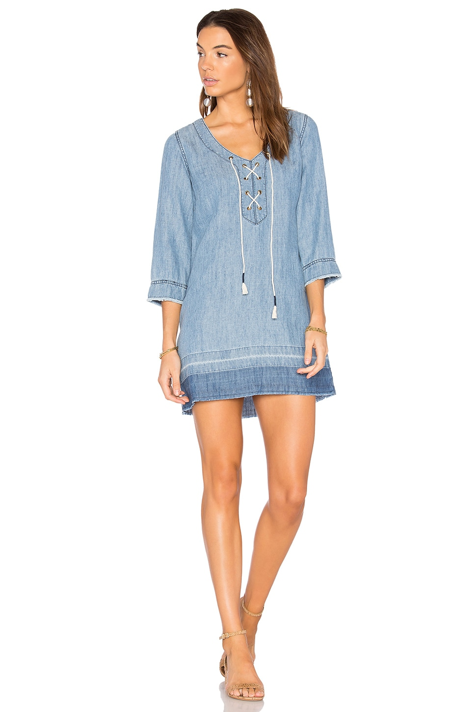 Michael Stars Denim Lace Up Dress in Sun Wash