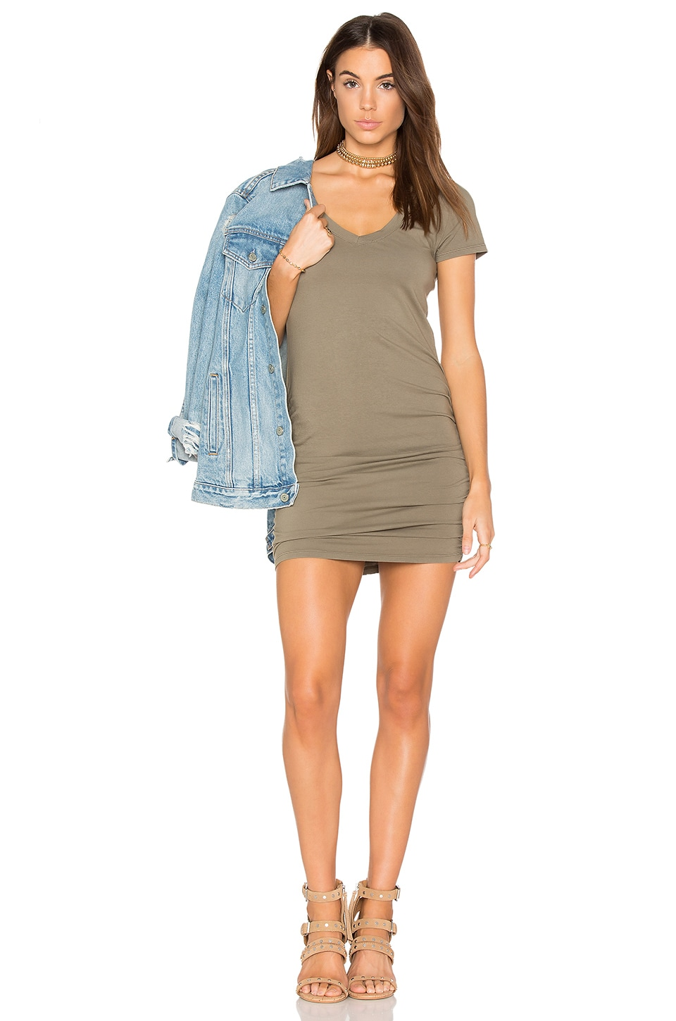 Michael Stars Ruched Mini Dress in Olive Moss