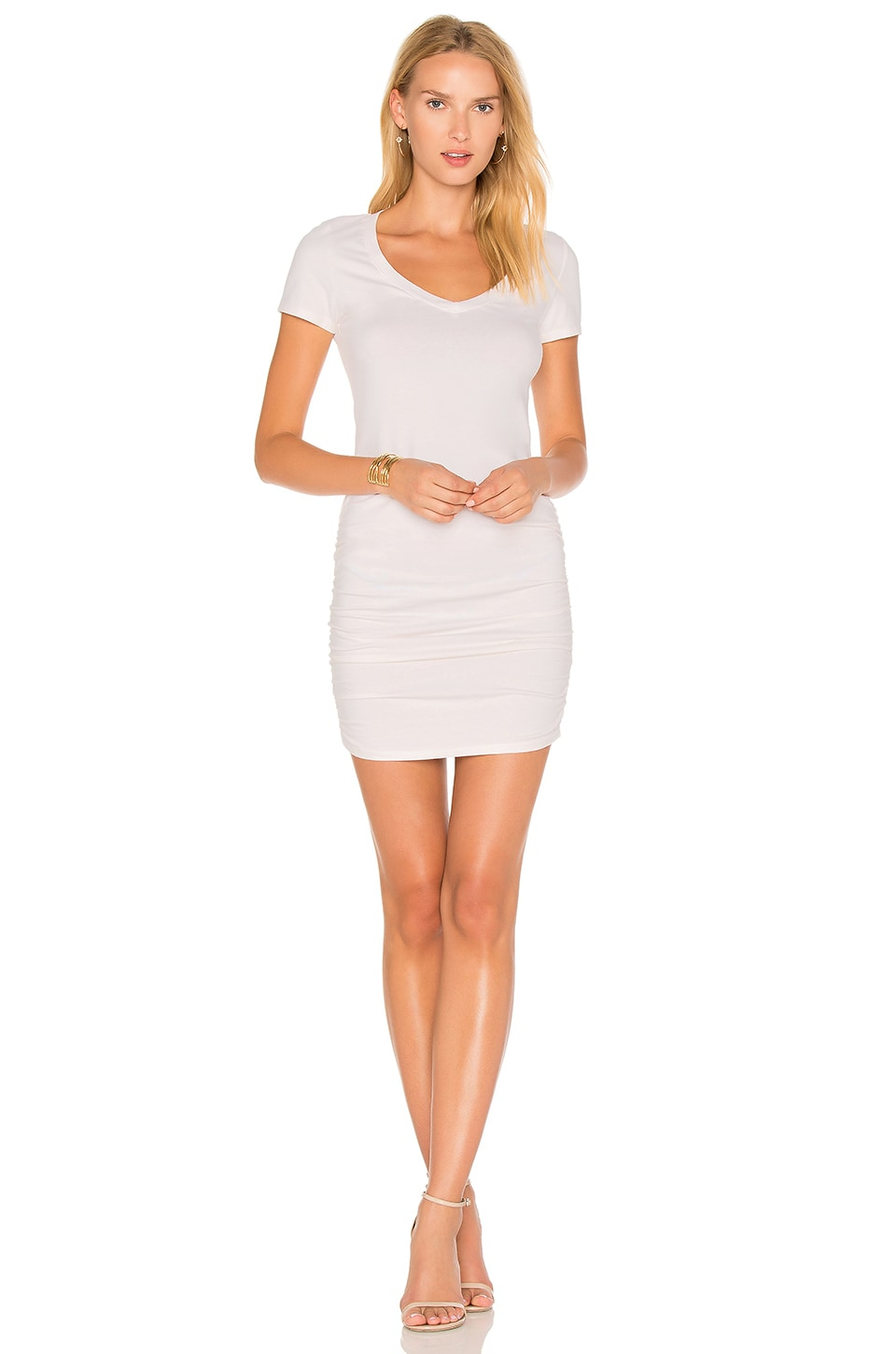 Michael Stars Ruched T Shirt Dress in Chalk