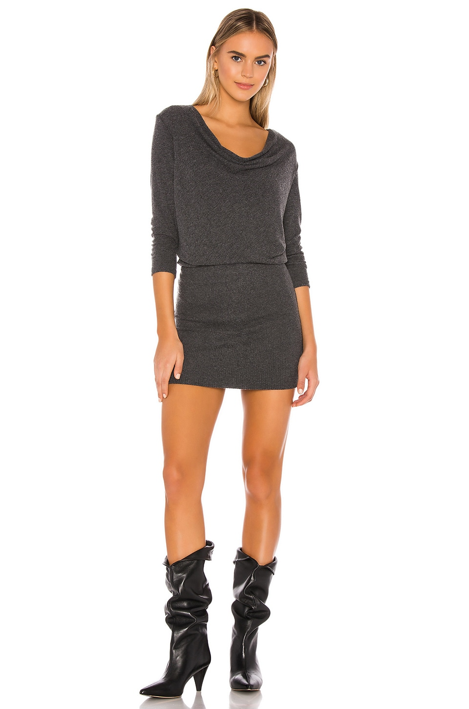 Michael Stars Cecile Cowl Neck Dress in Charcoal