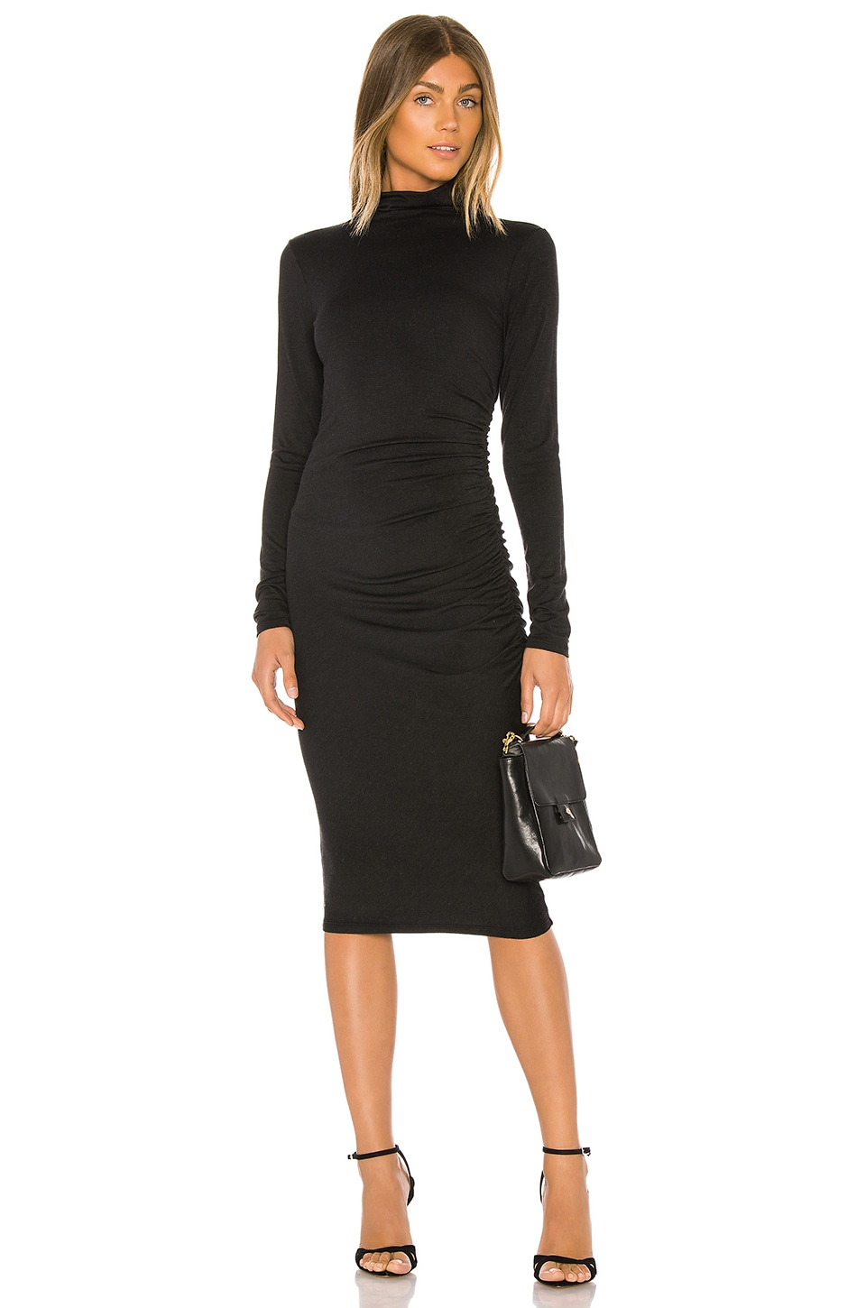 Michael Stars Mock Neck Midi Dress in Noir