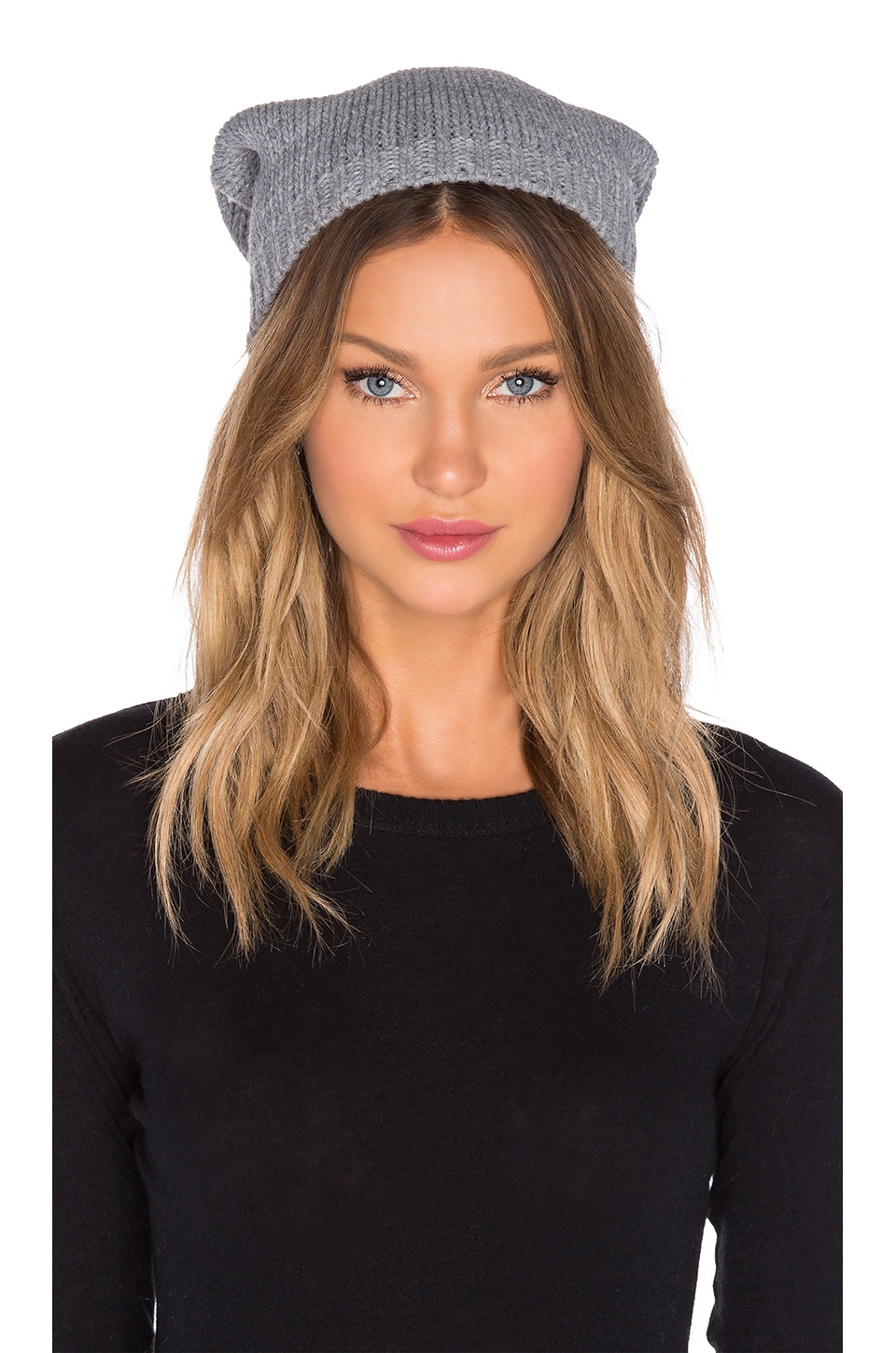 Michael Stars Faux Fur Pom Pom Slouch Beanie in Heather Crescent