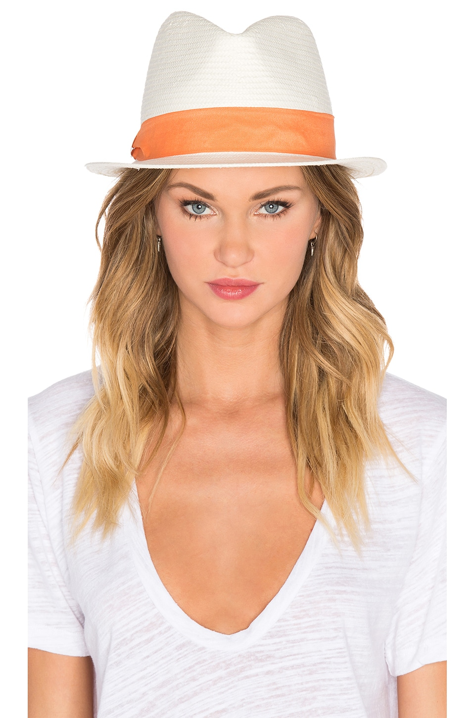 Michael Stars Pop Band Short Brim Panama Hat in Tang