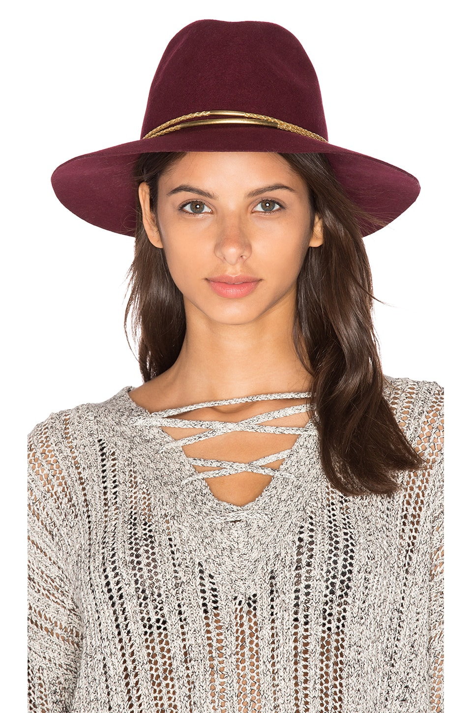 Michael Stars Gilded Rancher Wide Brim Hat in Pinot