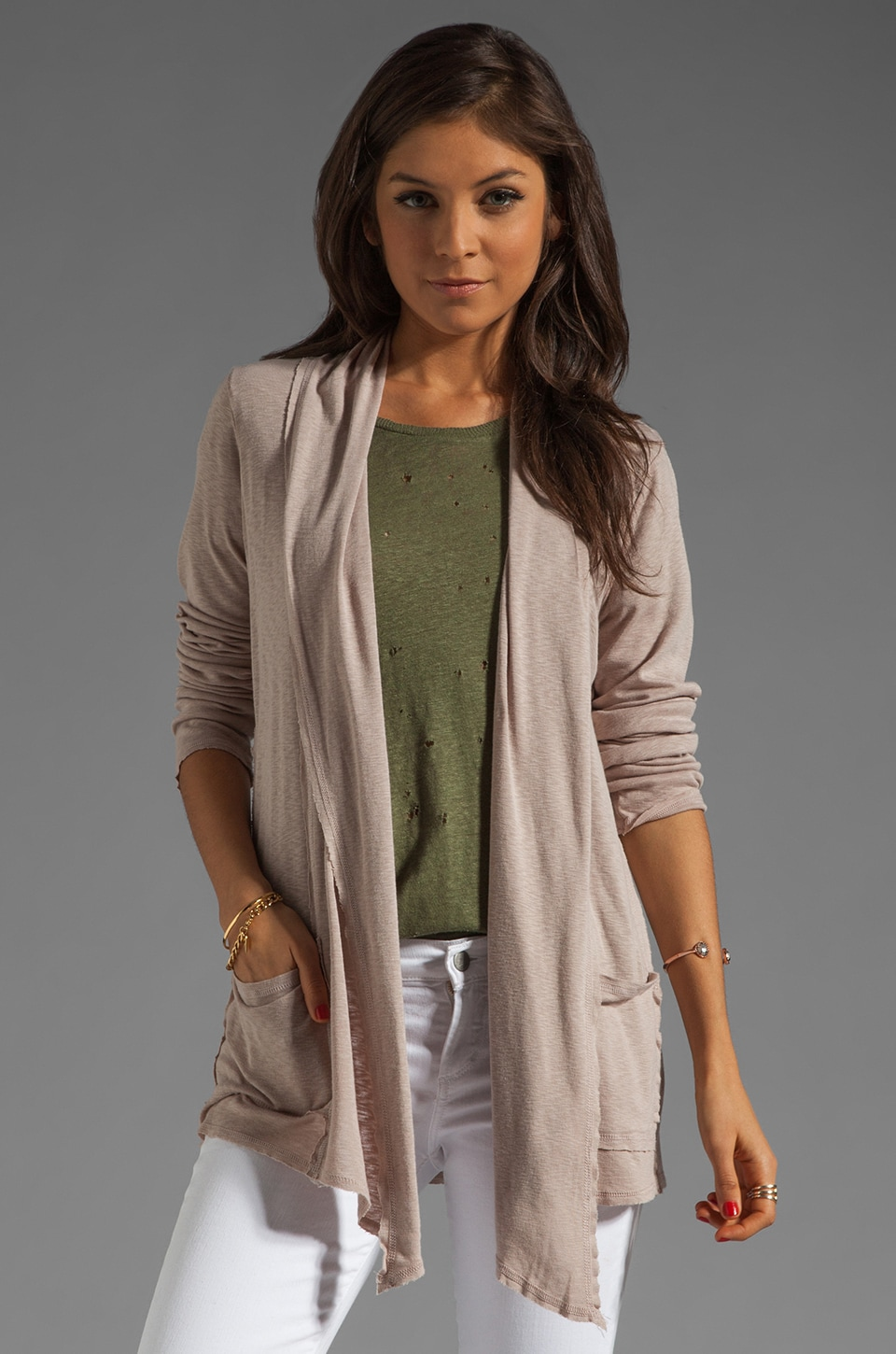 Michael Stars Long Sleeve Raw Edge Open Cardigan in Sunstone
