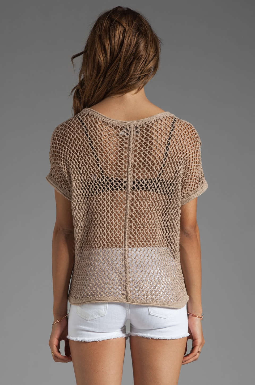 Michael Stars Beachcomber Cotton Mesh Short Sleeve Wide Neck Dolman Pullover in Khaki