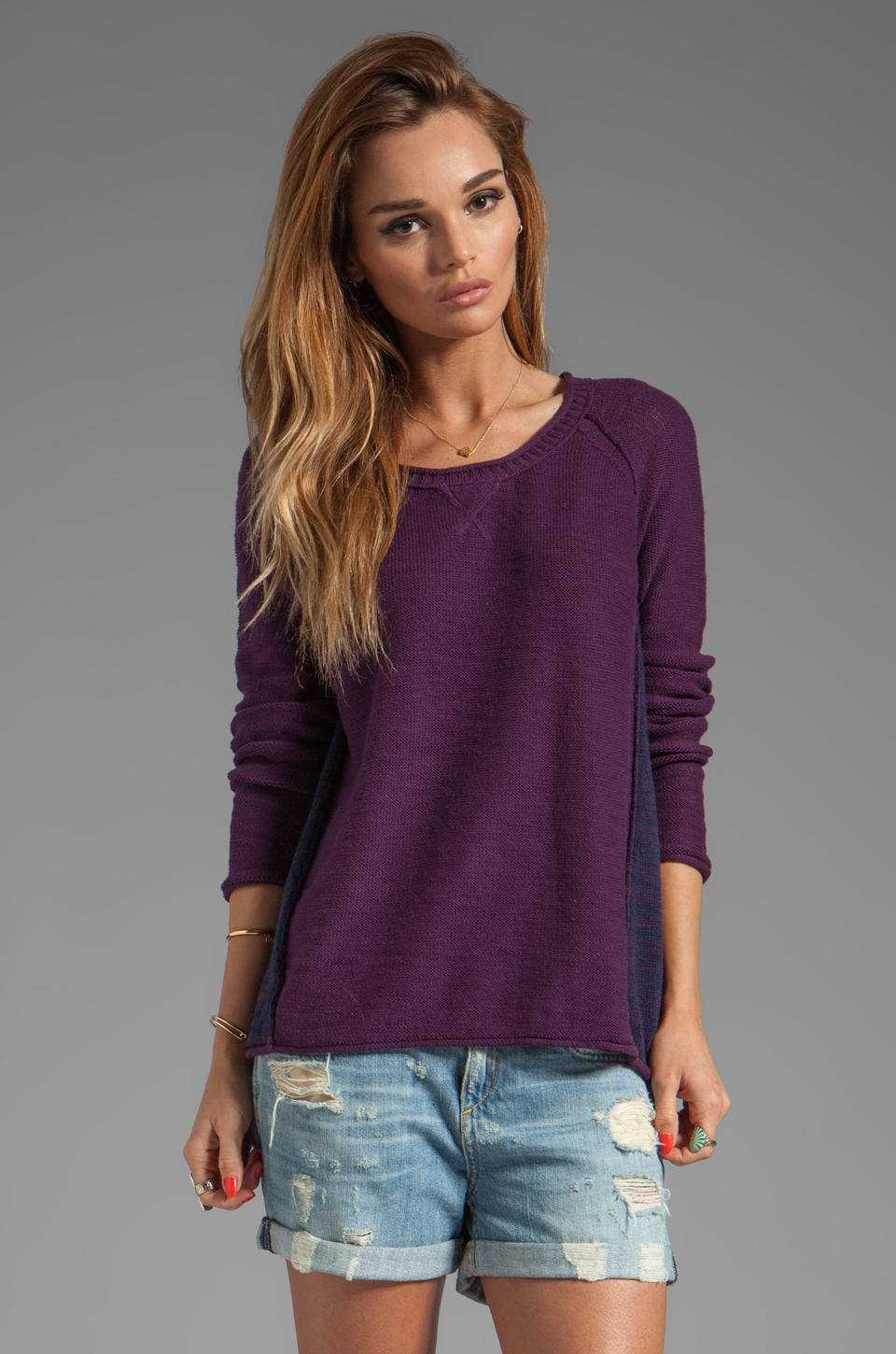 Michael Stars Slub Cotton Long Sleeve Scoop Neck Raglan Pullover in Plum