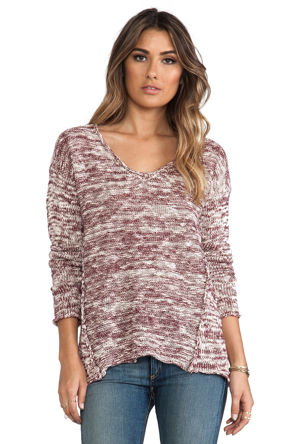 Michael Stars Marl Long Sleeve V Neck Hi-Low Sweater in Cinnabar