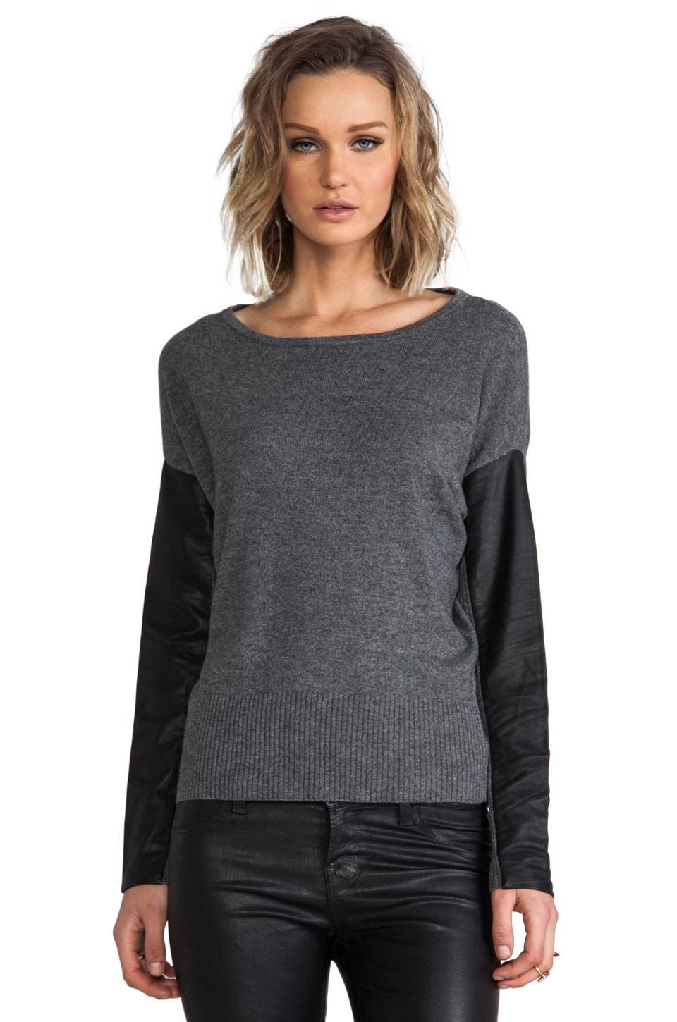Michael Stars Cashmere Blend Leather Sleeve Dolman Boatneck Pullover inHeather Grey/Black
