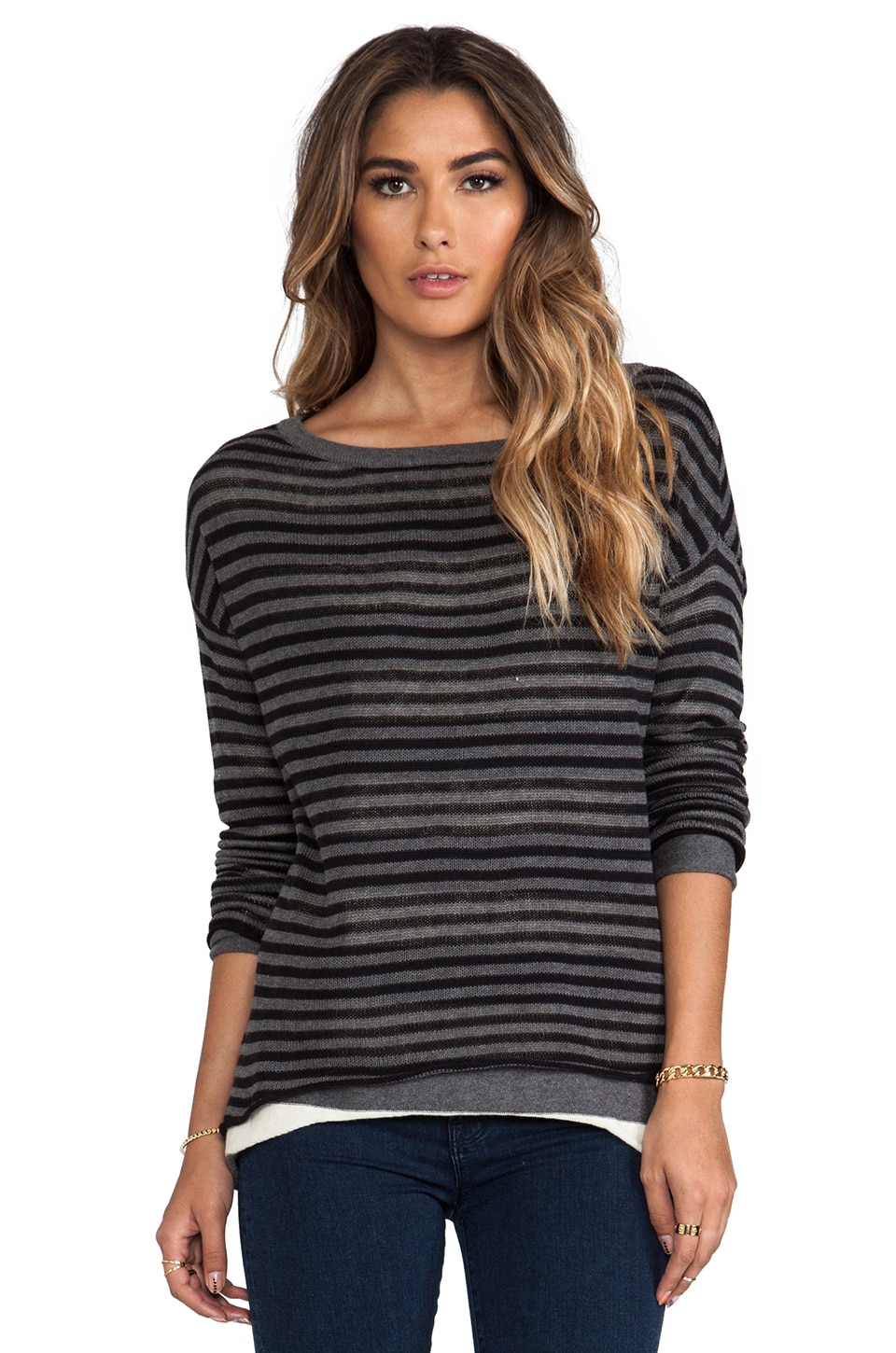 Michael Stars Double Layer Stripe Reversible Long Sleeve Boatneck Hi-Low Sweater in Black