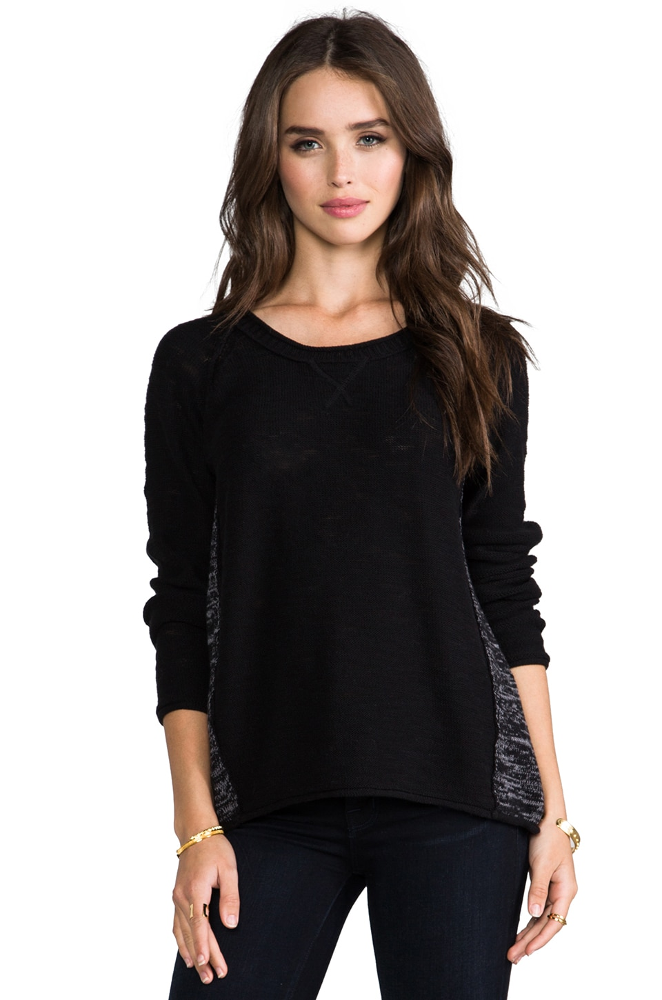Michael Stars Scoop Neck Raglan Sweater in Black