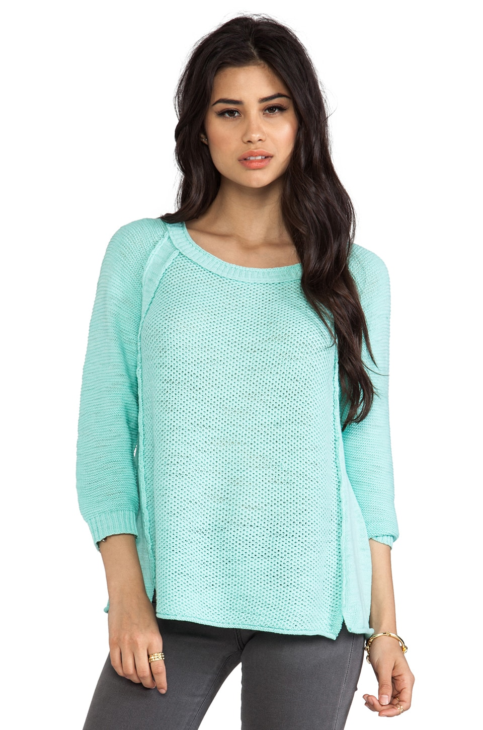Michael Stars Long Sleeve Crew Neck Pullover in Mint