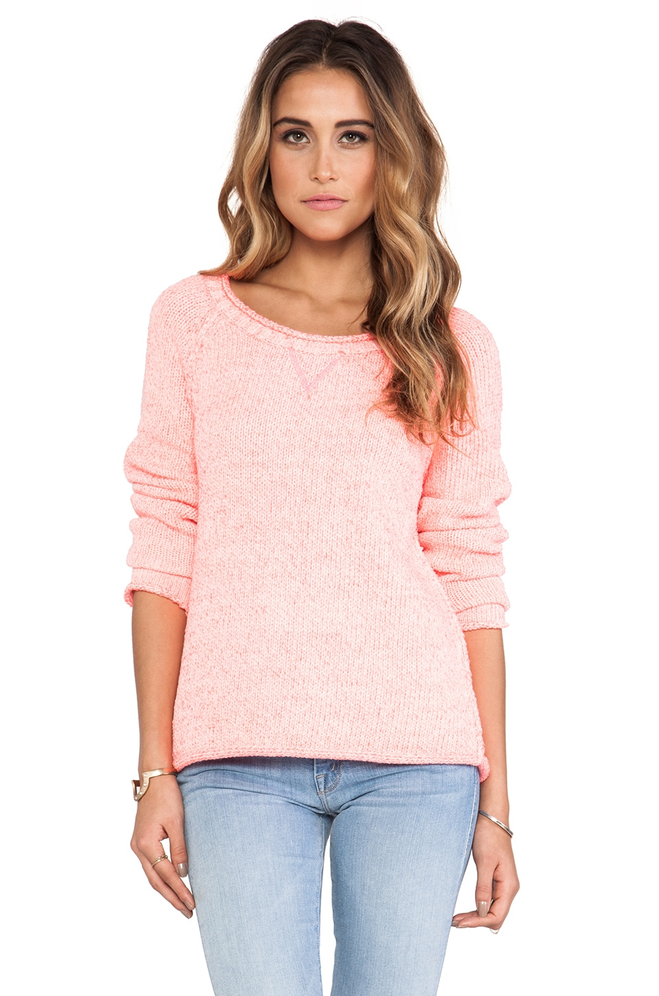 Michael Stars Long Sleeve Pullover in Shocking Pink