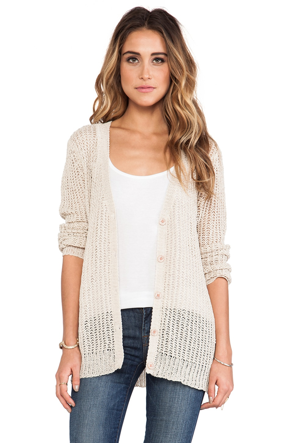 Michael Stars Long Sleeve Button Down Cardigan in Sand