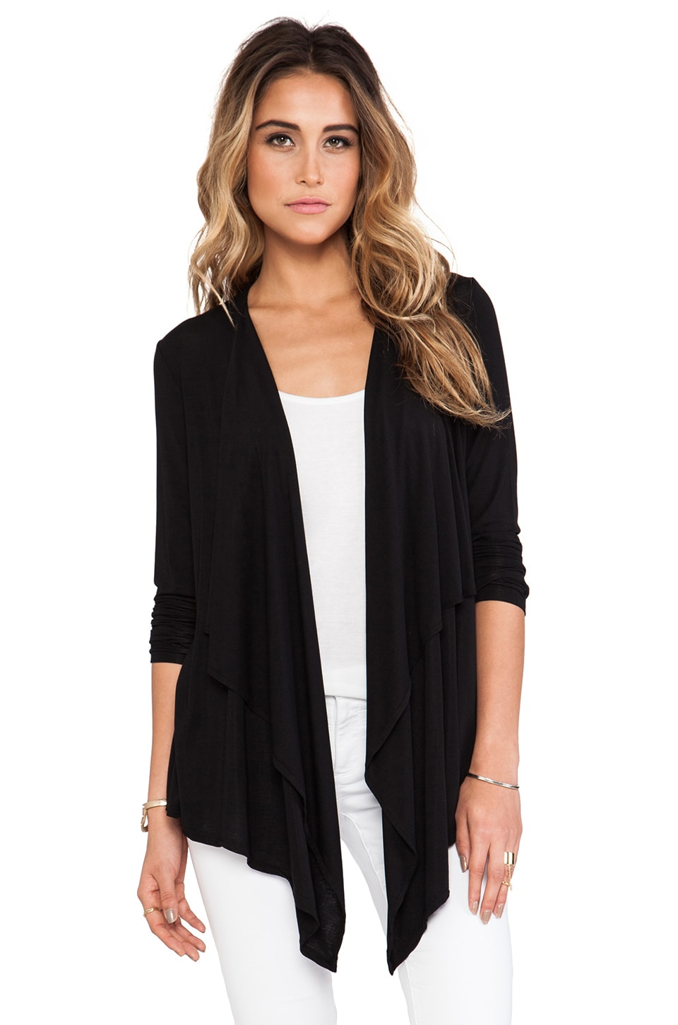 Michael Stars Long Sleeve Cascade Front Cardigan in Black