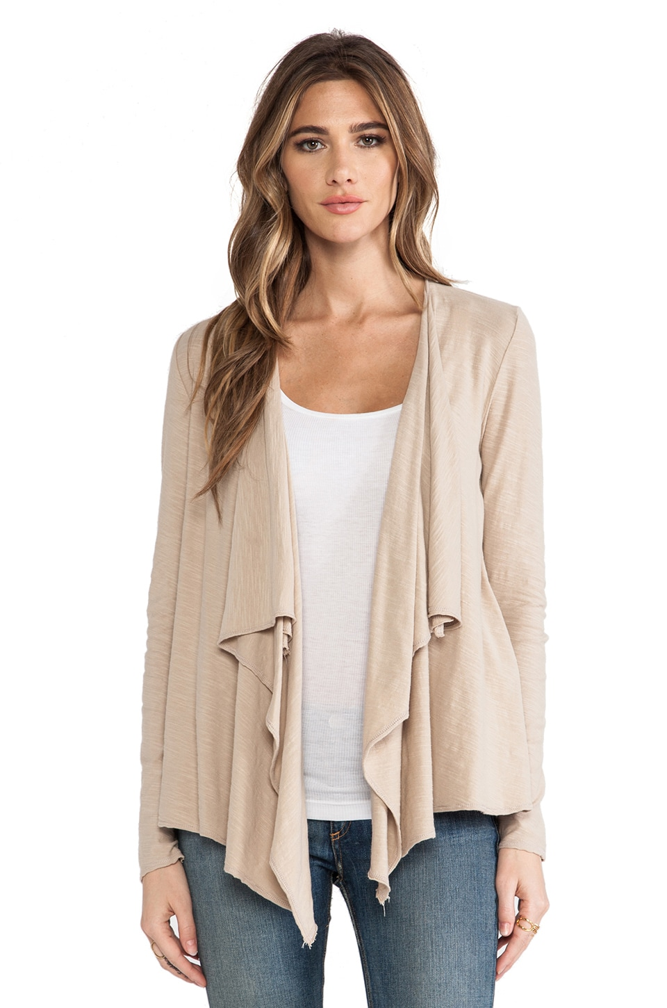 Michael Stars Long Sleeve Cascade Front Cardigan in Bamboo