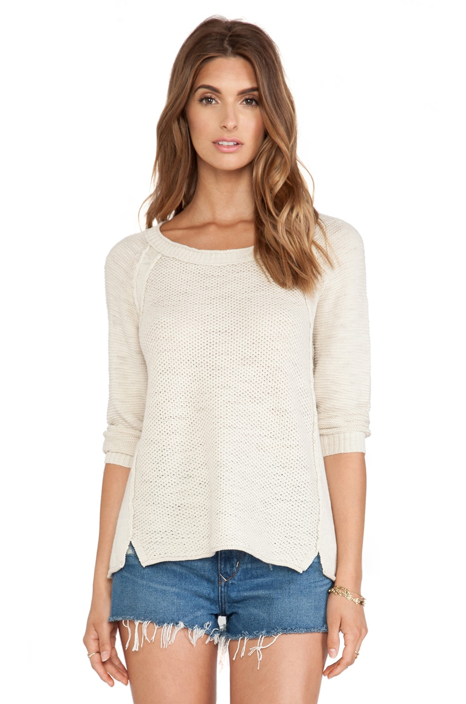 Michael Stars Long Sleeve Crew Sweater in Khaki