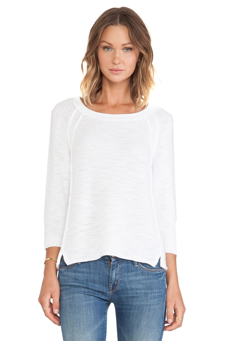 Michael Stars Long Sleeve Crew Sweater in White