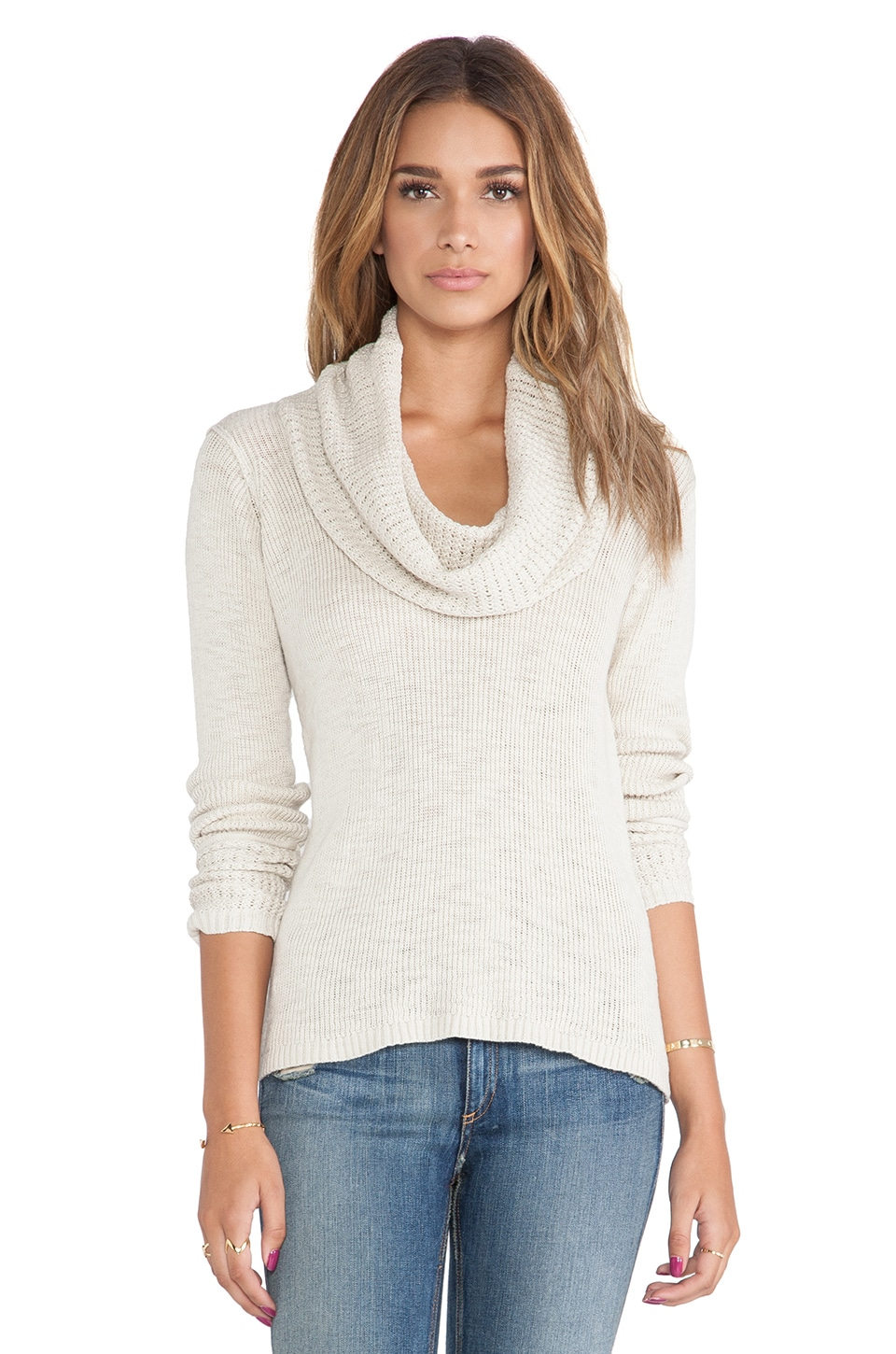 Michael Stars Long Sleeve Cowl Neck Sweater in Parchment | REVOLVE