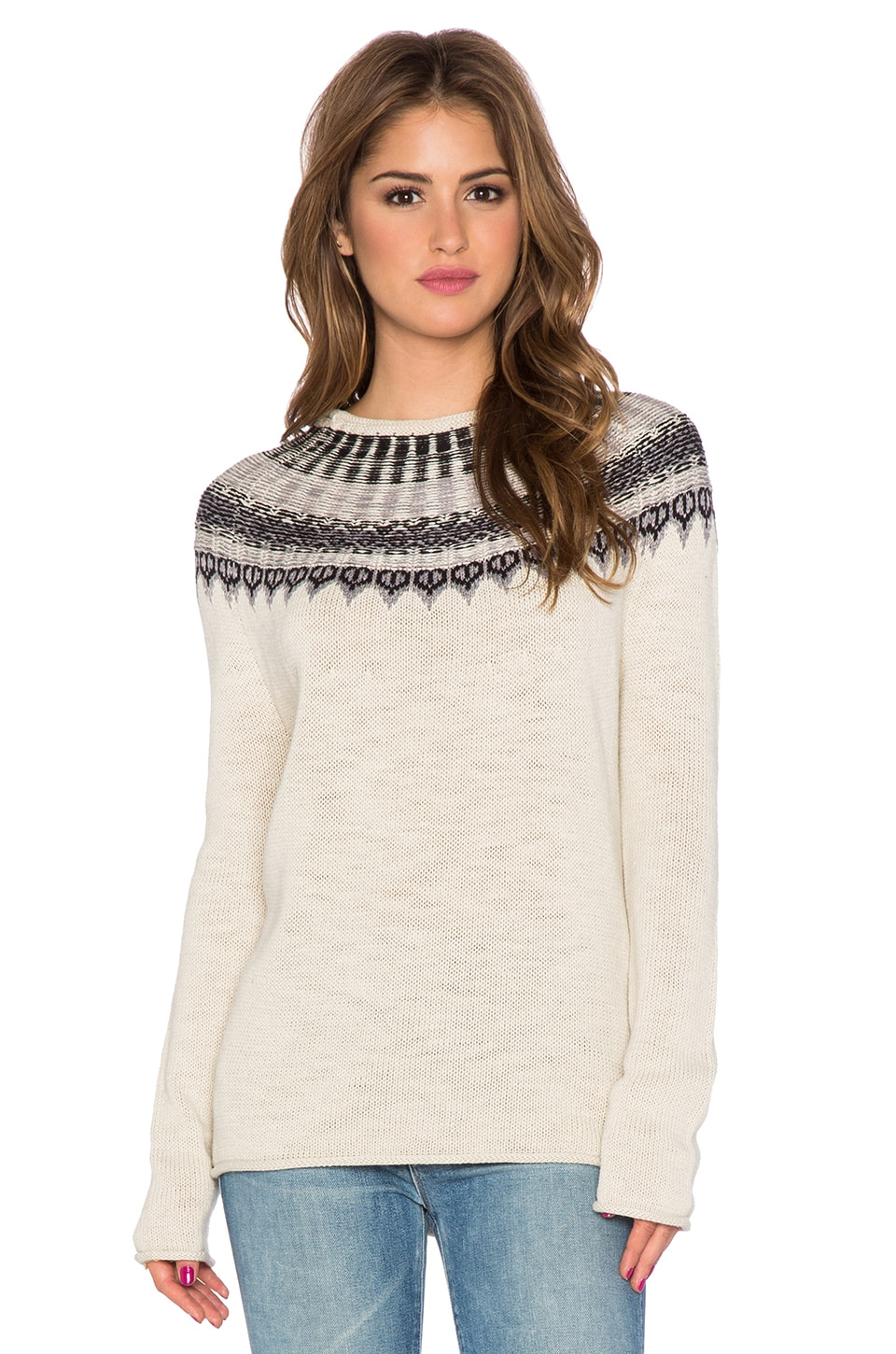 Michael Stars High Low Crew Neck Sweater in Fatigue