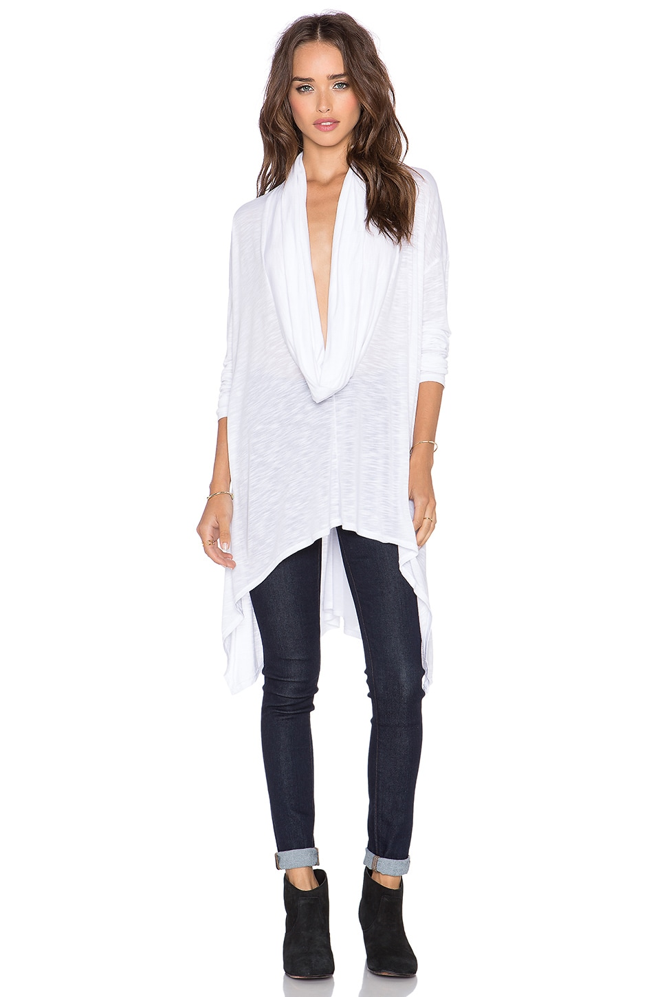 Michael Stars Asymmetrical Cowl Neck Poncho in White