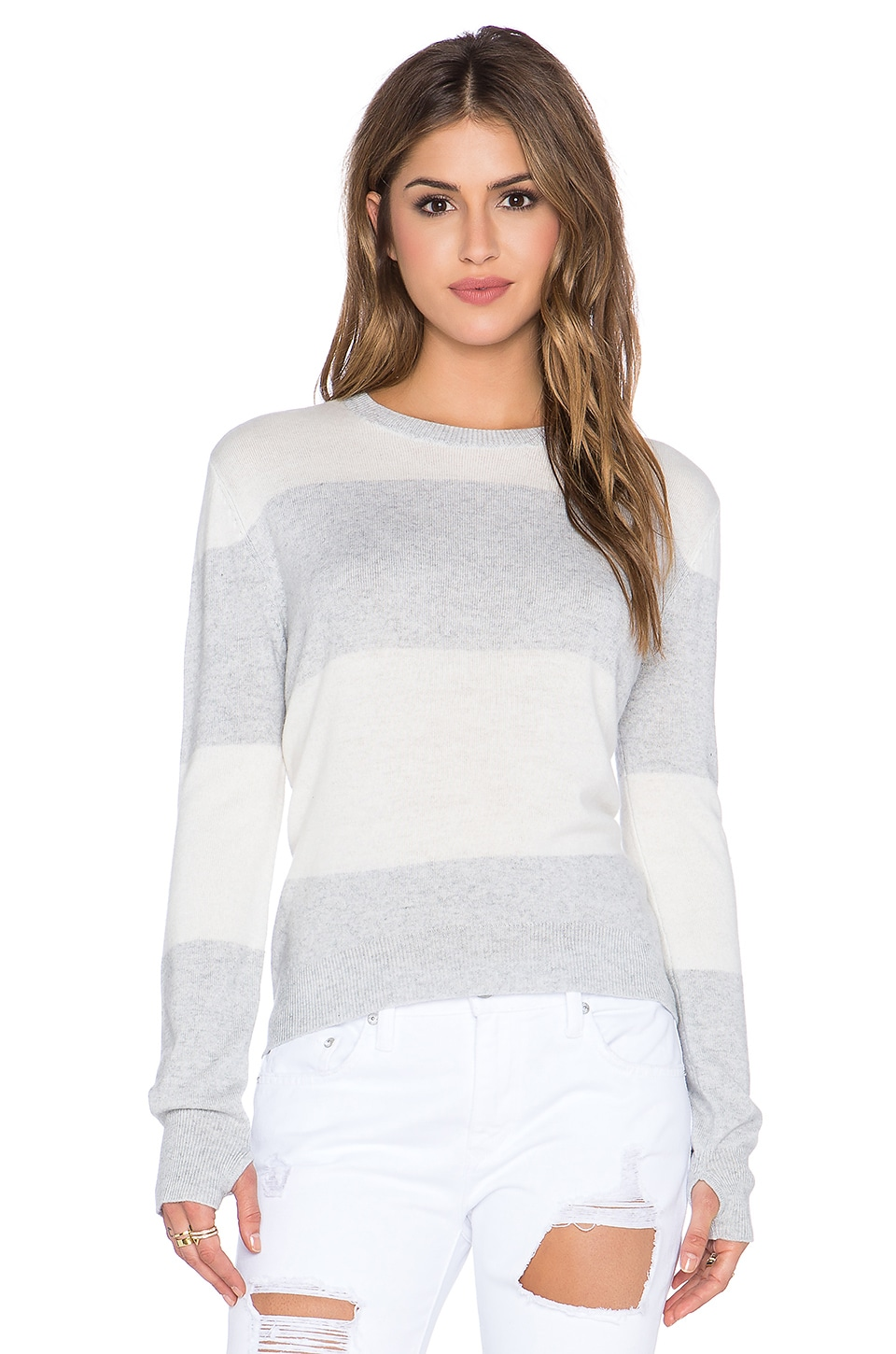 Michael Stars Striped Wideneck Thumbhole Sweater in Heather Grey & Ivory