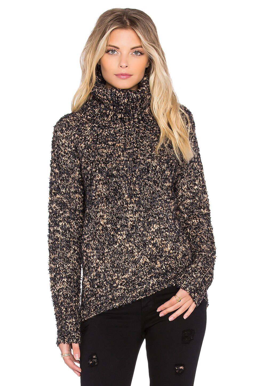 Michael Stars Tubular Turtleneck Sweater in Black & Camel