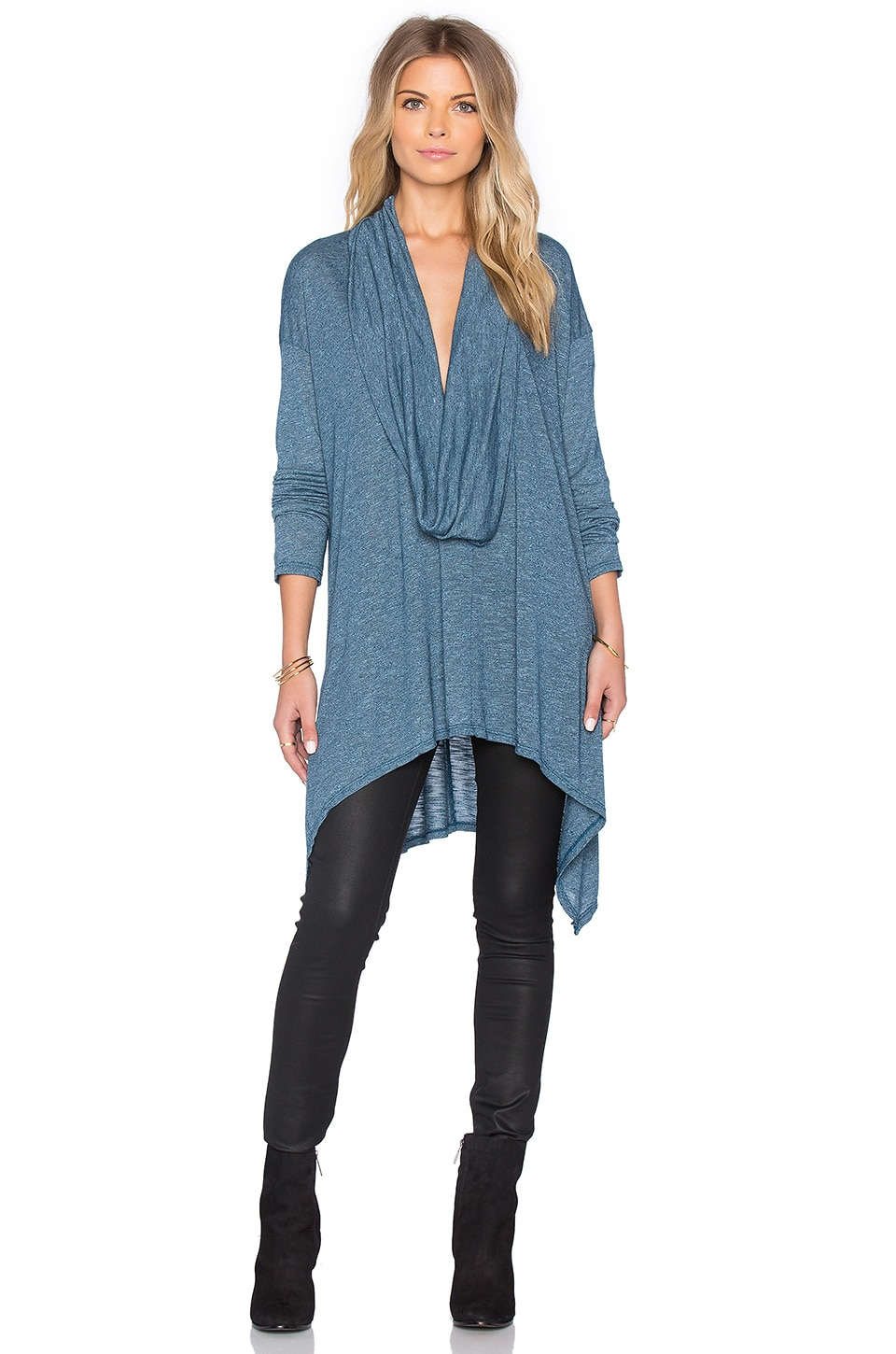 Long Sleeve Cowl Neck Asymmetrical Hem Poncho by Michael Stars