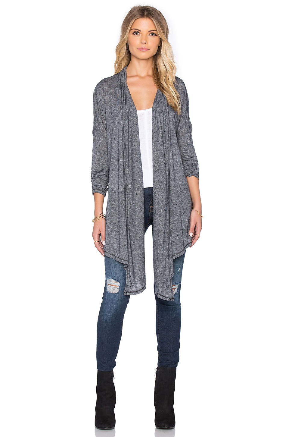 Michael Stars Long Sleeve Open Front Hi Low Convertible Cardigan in Oxide