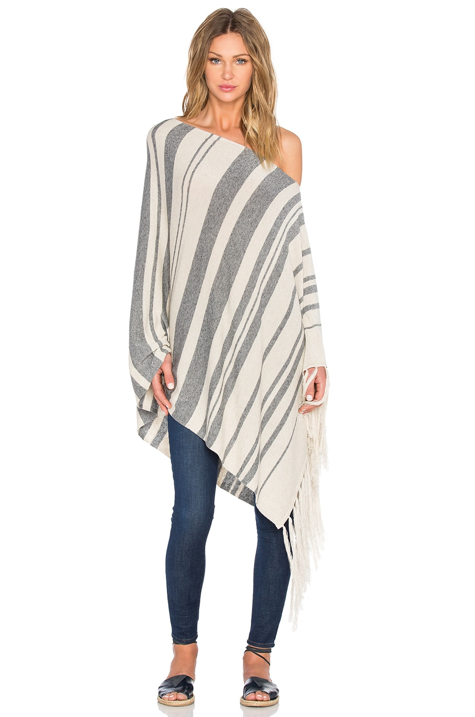Michael Stars Stripe Fringe Poncho in Charcoal & Parchment