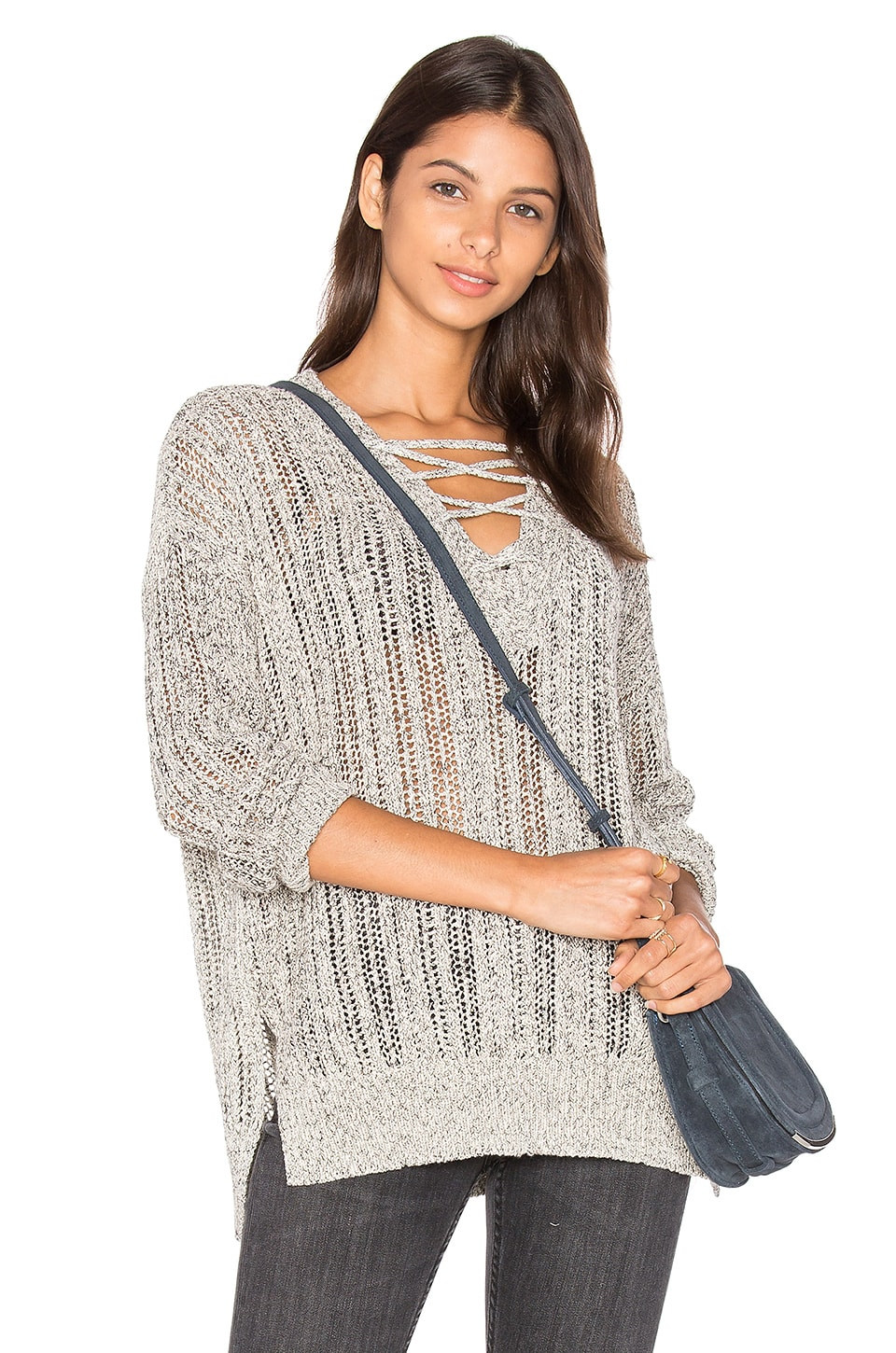 V Neck Lace Up Tunic by Michael Stars