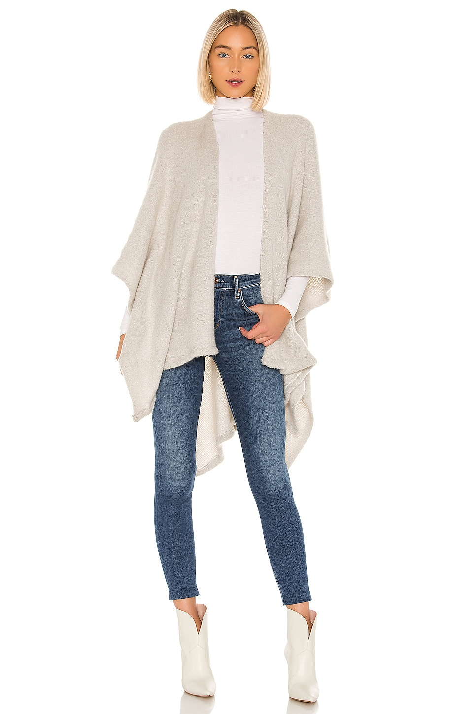Michael Stars Maya Brushed Knit Ruana in Heather Grey